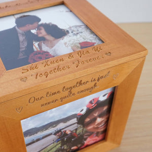 Personalized Wooden Photo Cube Box - Free Photo Printing