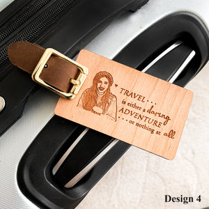 Personalized Real Leather Strap Wooden Luggage Tag