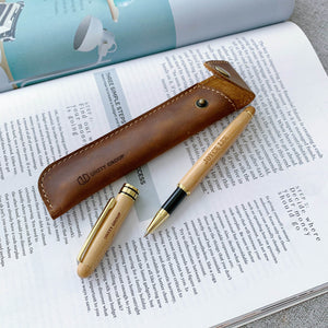 Personalized Bamboo Pen with Real Leather Pouch