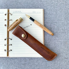 Load image into Gallery viewer, Personalized Bamboo Pen with Real Leather Pouch