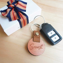Load image into Gallery viewer, Personalized Real Leather Wood Keychain