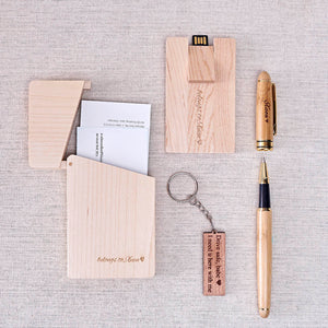 Office Gift Set #02 - Pen, Card USB(16gb), Name Card Holder, Keychain, Wooden Box