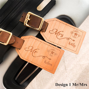 Couple Wooden Luggage Tag, Special Gift for couple