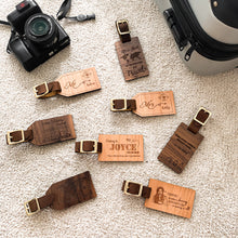 Load image into Gallery viewer, Personalized Real Leather Strap Wooden Luggage Tag, Special Gift for Traveler, Gift for Friend, Unique Gift for Friend, Special Gift for Husband