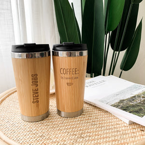 Personalized Bamboo Travel Coffee Mug Tumbler (Can add name or emoji, no picture)