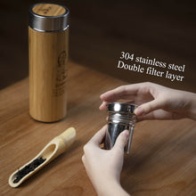 Load image into Gallery viewer, Personalized Bamboo Thermal Flask/ Thumbler (can add wordings and picture)