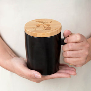 Personalized Ceramic Mug with Wooden Handle Set