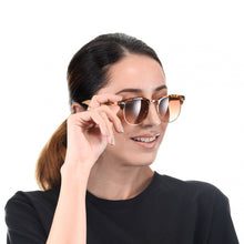 Load image into Gallery viewer, Personalized Bamboo Sunglasses- Clubmaster Brown C016
