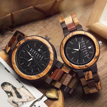 Load image into Gallery viewer, Personalized Wooden Couple Watch, Special Gift for husband, Gift for wife, Gift for Couple, Special Couple Watch, Anniversary Gift, Gift for him, Gift for her, Birthday Present for girlfriend