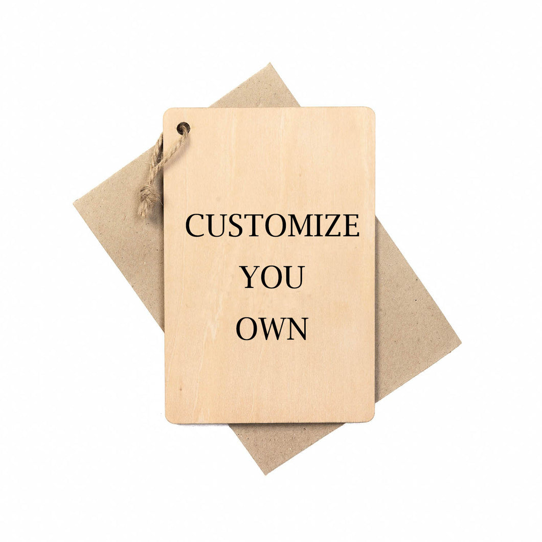 Customized Personalized Wooden Card (Free front side engraving)
