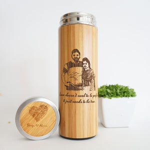 Classic Gift Set For Him & For Her #05 - Personalized Bamboo Thermal Flask/ Thumbler +  Super Essenso Coffee