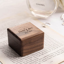 Load image into Gallery viewer, Personalized walnut wood ring box, Wedding Ring box, Engagement RIng box, Propose Ring box, RIng box in Malaysia, 客制化戒指盒,Personalized Ring box near me,
