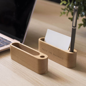 Personalized Wooden Name Card Holder For Desk Display