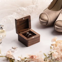 Load image into Gallery viewer, personalized wooden ring box, wedding ring box