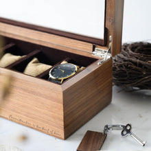 Load image into Gallery viewer, Personalized 5 Slots Walnut Wood Watch Box