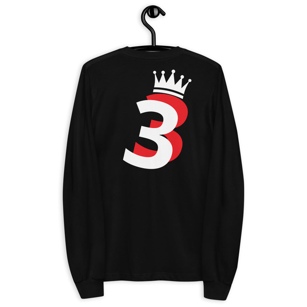 Original Crooked Crown Long Sleeve Tee | Black / Navy - FAC3LESS