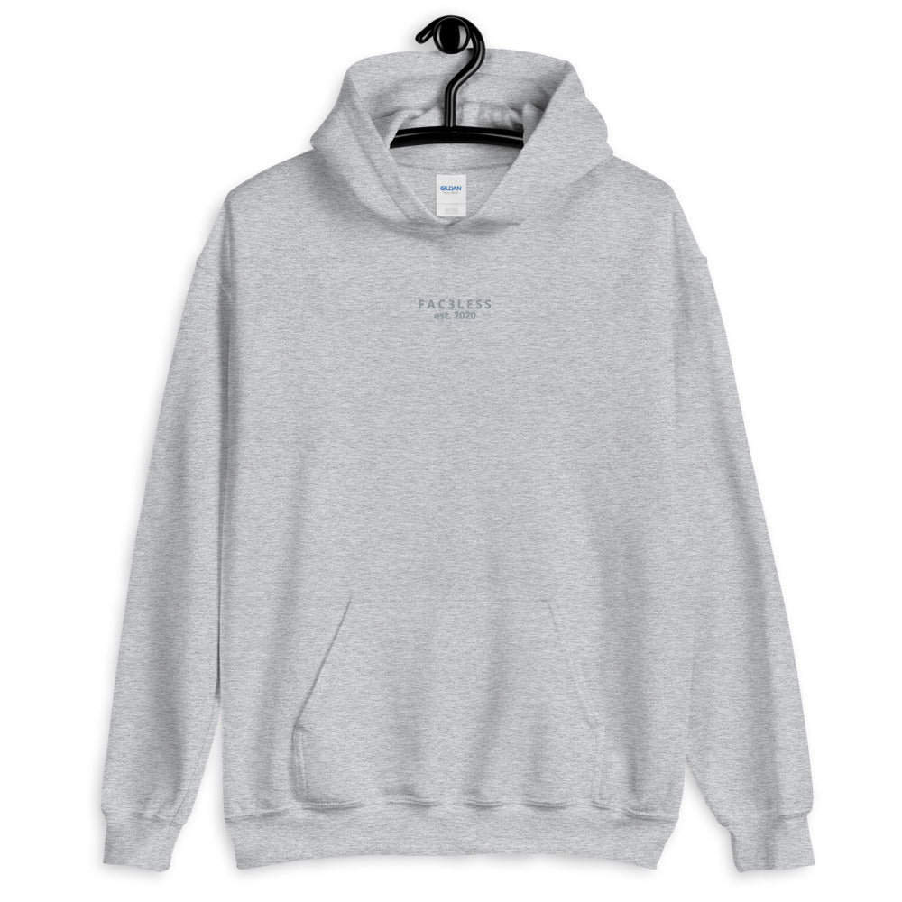 Embroidered Hoodie | Grey - FAC3LESS