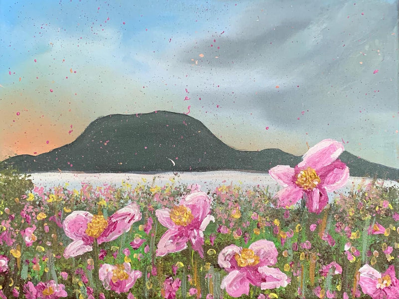 NEW PAINTING! Clare Island and Pink Wildflowers
