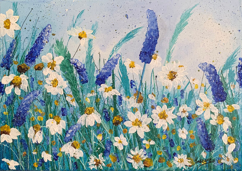 New Painting! Daisies and Wild Pea Flowers