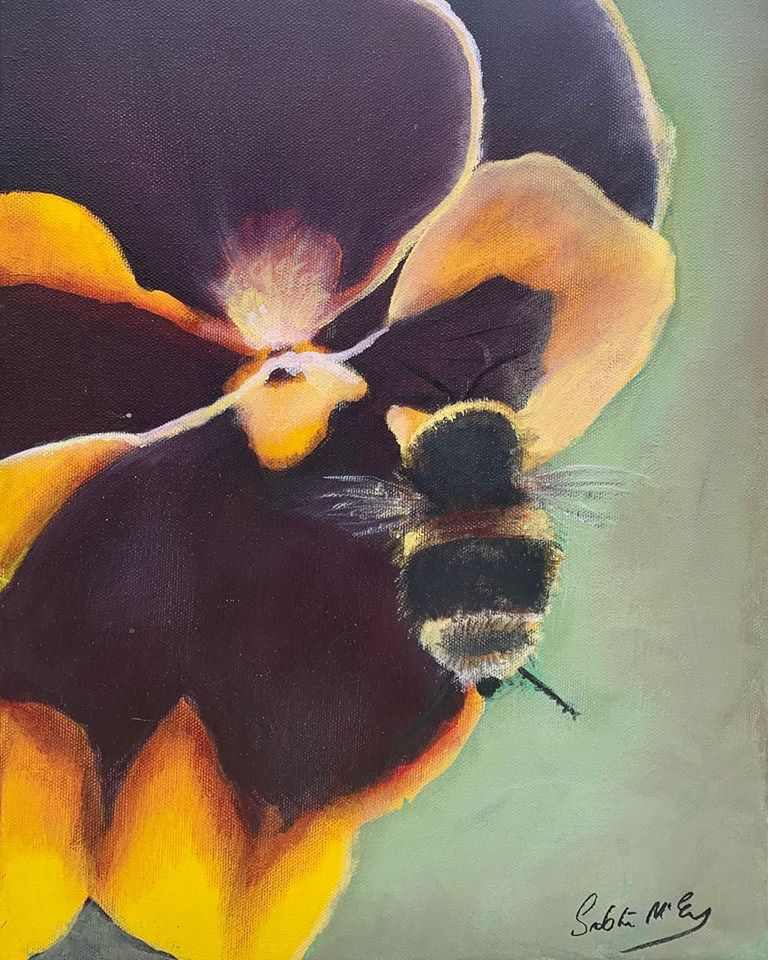 The Pansy and the Bee - Original Painting
