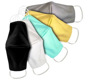 Wholesale Organic Cotton Mask - Pack of 3 - Black, Grey, Yellow, Green