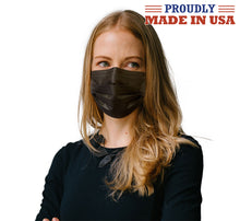 Load image into Gallery viewer, Black Wholesale USA Made 3 Ply Face Masks 50 Pcs Disposable