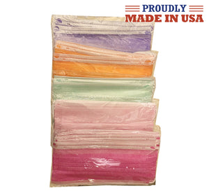 Multi colored Wholesale USA Made 3 Ply Face Masks 50 Pcs Disposable