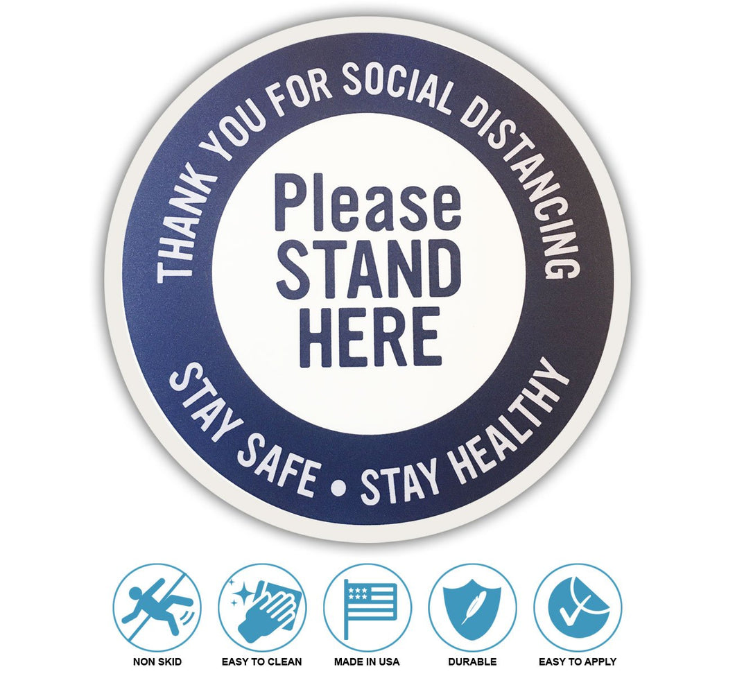 Social Distancing Floor Stickers And Signs Non Slip Made In USA Wholesale