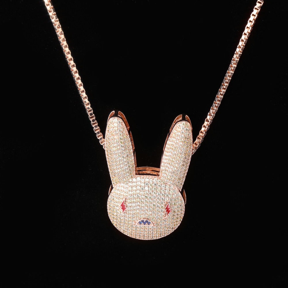 Rose Gold Iced Out Bad Bunny Pendant with Link Chain