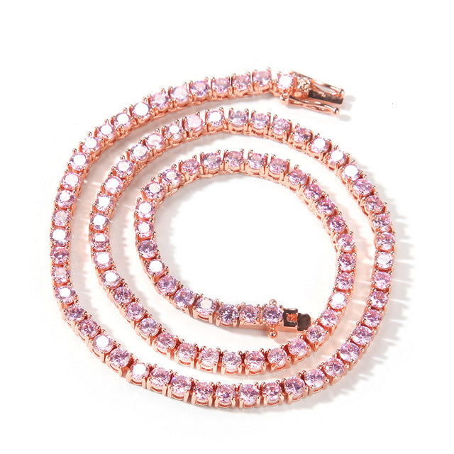 Rosegold Glittery Pink Tennis Chain