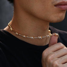 Load image into Gallery viewer, Iced Out Twisted Necklace Choker and Bracelet Set