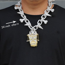 Load image into Gallery viewer, Trippie Redd Style Chain Choker with Iced Out Pendant
