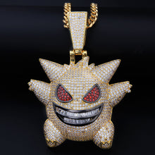 Load image into Gallery viewer, Iced Out Super Big Gengar in Gold with Chain