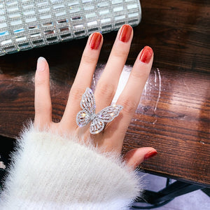 Adjustable Luxury Bling Butterfly Cocktail Ring