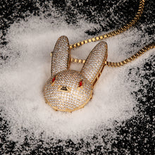 Load image into Gallery viewer, Iced Out Bad Bunny Pendant with Link Chain