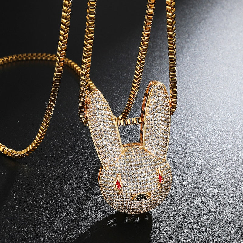 Iced Out Bad Bunny Pendant with Link Chain