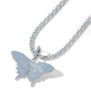 Iced Out Blue Butterfly Pendant Necklace
