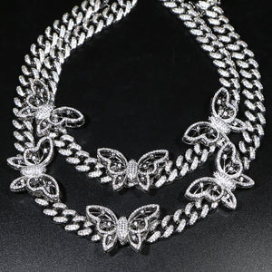 Iced Out Platinum 5A CZ 12mm Big Butterfly Cuban Chain