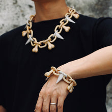 Load image into Gallery viewer, Iced Out Punk Rivet Bone Chain Bracelet
