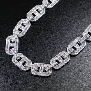 15MM Platinum Plated Lock Pin Cuban Link Chain Necklace