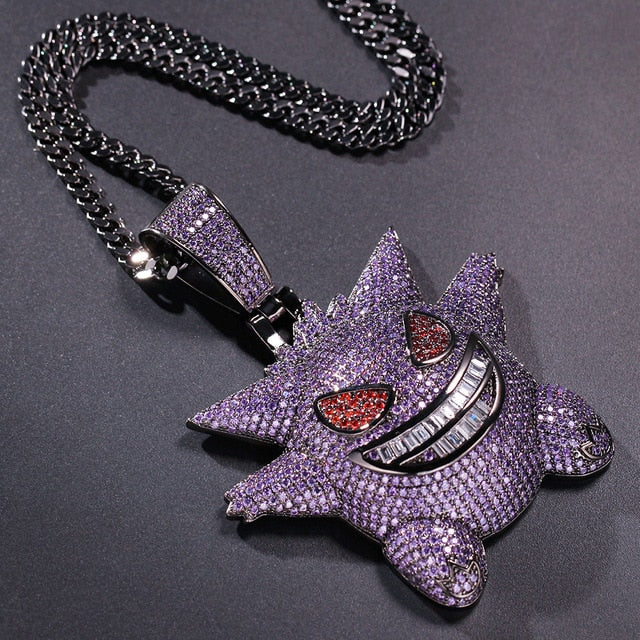 Iced Out Super Big Gengar in Purple with Chain