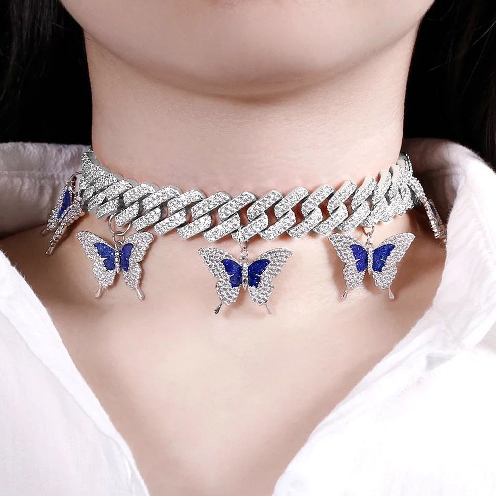 Iced Out Miami Cuban Link Butterfly Choker