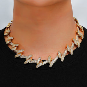 2.2CM Heavy Thorns Cuban Link Chain Necklace in 18inch