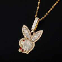 Load image into Gallery viewer, Iced Out 14K Gold Plated Play Boy Bunny Pendant with Chain
