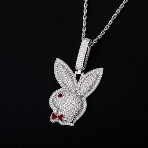 Iced Out 14K Gold Plated Play Boy Bunny Pendant with Chain