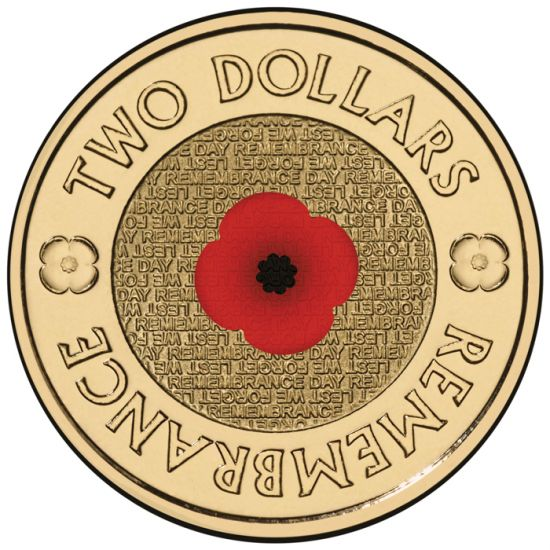 2012 Royal Australian Mint Remembrance Day $2.00 COLOURED POPPY Coin