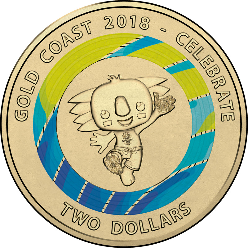 2018 RAM Commonwealth Games Borobi Mascot Coloured Circulating Coin - BLUE
