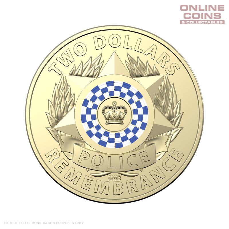 2019 RAM $2 Coloured Circulating Coin Removed from Roll - POLICE REMEMBRANCE