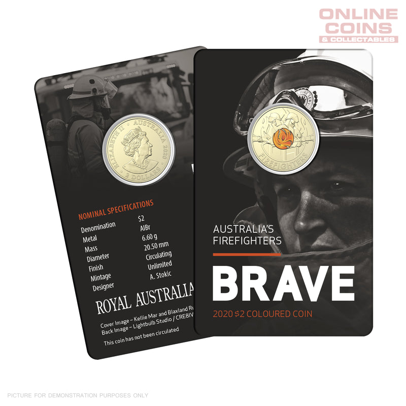 RAM Australia's Firefighters 2020 $2 Colour Circulating Coin-in-Card