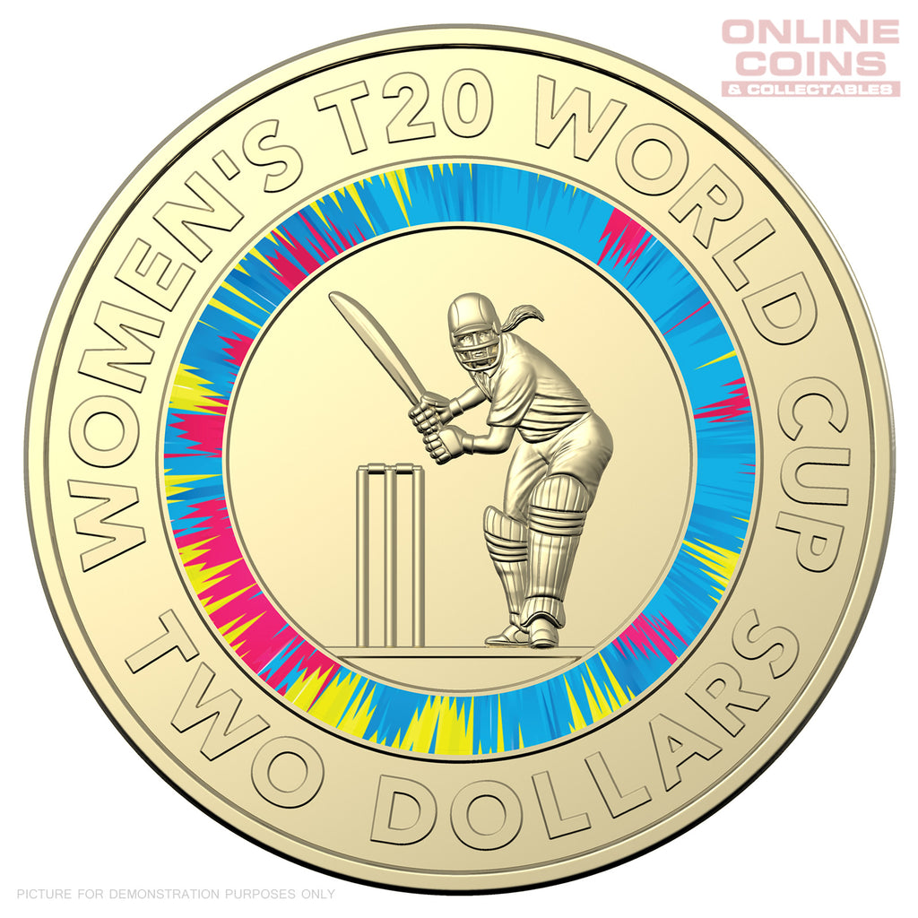 2020 $2 AlBr Coloured Uncirculated Coin in Folder - ICC Women's T20 World Cup 2020